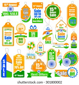 vector illustration of promotional and advertisement sale tag for Independence Day of India