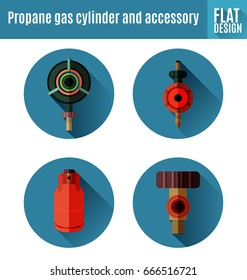 Vector Illustration of  propane gas cylinder and accessory flat icon design.
