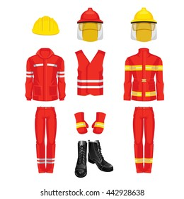 Vector illustration of protective wear and yellow safety helmet. Helmet with glass shield for firefighter