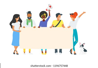 Vector illustration of protesting people holding blank placard. Young activist man and woman on parade or political meeting standing together. Minimalism design with people silhouettes.