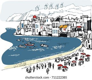 Vector illustration of Psarou Bay, Mykonos  showing beach and old buildings.