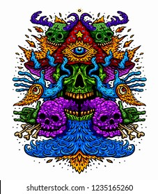 Vector illustration of a psychedelic magic mushroom with a third eye of a fire-breathing monster. Design for T-shirt on white background