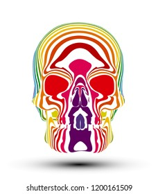Vector illustration of psychedelic skull with colorful stripes isolated on white background.