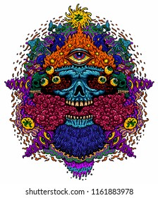 Vector illustration of a psychedelic skull with a third eye of a fire-breathing monster and smoke. Design for T-shirt on white background
