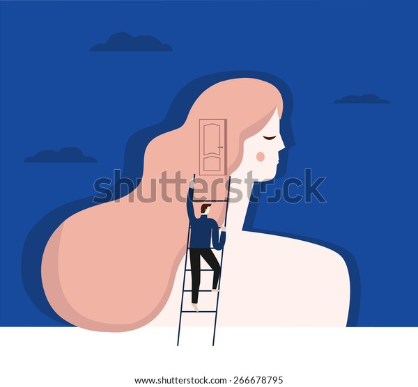 A vector illustration of psychiatrist working with a patient.
