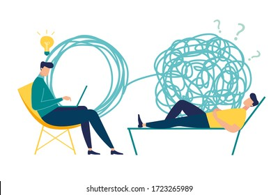 Vector illustration, psychotherapy, unraveling complex situations, concept of social psychiatry, therapist and patient vector