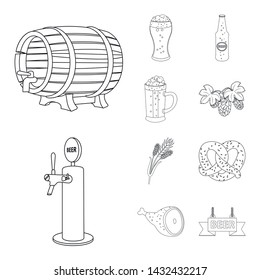 Vector illustration of pub and bar icon. Set of pub and interior stock symbol for web.