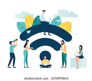 Vector illustration, public free wireless connection wireless point Wi-Fi, For mobile user interface, the transmission of digital data streams over radio channels