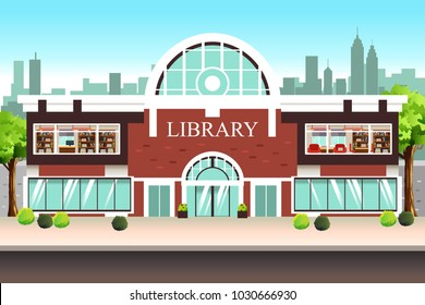 A vector illustration of Public Library Building
