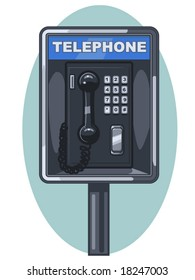 vector illustration of a public phone booth