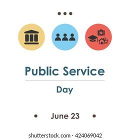 vector illustration / public service day in june