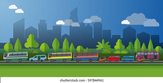 Vector illustration, Public transport in jakarta