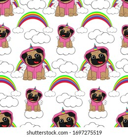 Vector Illustration. Pug dressed in a unicorn costume. In the background a rainbow and clouds. Objects are isolated on a white background. Cute picture in comic style. Pop Art.