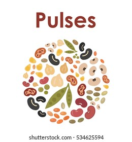 vector illustration of pulses and beans  in a circle shape for round logo or emblem design in natural colors