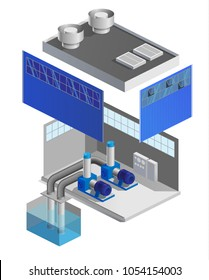 Vector illustration of a pumping station, water pump, pool, transportation of liquid, circuit, explosion diagram, 3d, isometric