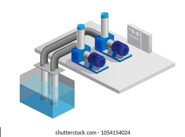 Vector illustration of a pumping station, water pump, swimming pool, transportation of liquid, isometric