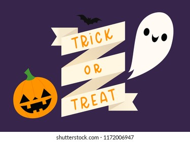 Vector illustration of a pumpkin, bat, and ghost with a Halloween banner that says trick or treat