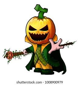 Vector illustration of Pumpkin Cartoon Character