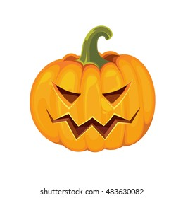 vector illustration of pumpkin with an evil look. Halloween symbol isolate on white background.