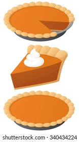 Vector illustration of a pumpkin pie, whole and slice.