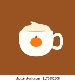 Vector illustration of a pumpkin spice latte in a mug