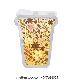 vector illustration for pumpkin spice mixed flavored drink or latte in high cup