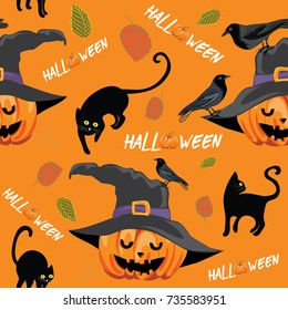 Vector illustration of pumpkin with witch hat, black cats and crows on orange background. Halloween seamless pattern.