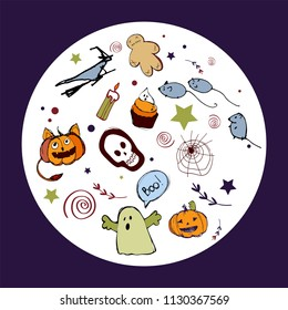 Vector  illustration with pumpkins, skull, gost, etc. Halloween round card, poster, banner, invitation. EPS 10