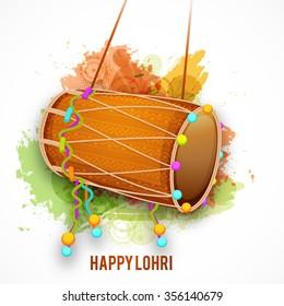 Vector illustration of Punjabi Festival Happy Lohri  celebration with colorful Background.