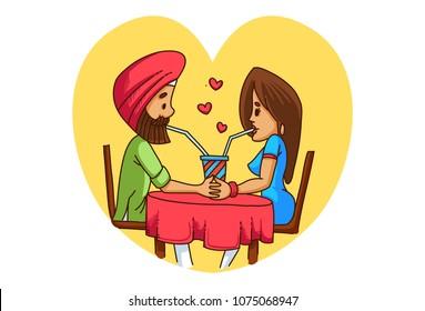 a vector illustration of Punjabi sardar couple having beverages