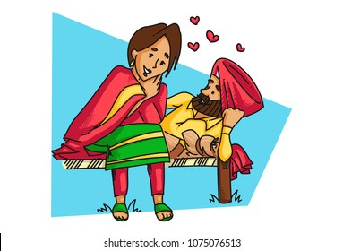 A vector illustration of a Punjabi sardar couple having a romantic conversation