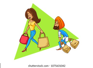 A vector illustration of Punjabi sardar couple shopping