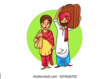 a vector illustration of a Punjabi sardar couple travelling .