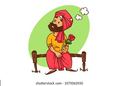 a vector illustration of Punjabi sardar man sitting on a bed with a rose in hand thinking