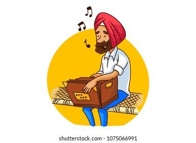 a vector illustration of a punjabi sardar man playing harmonium on bed