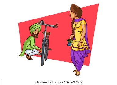 A vector illustration of Punjabi sardar repairing his cycle while watching his better half
