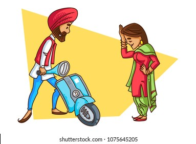 A vector illustration of a Punjabi sardar starting his scooter with his girlfriend standing besides him.
