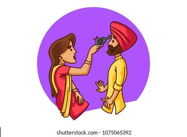 a vector illustration of Punjabi sardarni pointing a gun at her husband