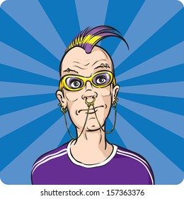 Vector illustration of punk with face piercings. Easy-edit layered vector EPS10 file scalable to any size without quality loss. High resolution raster JPG file is included.