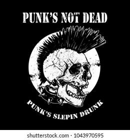 Vector illustration punk skull with mohawk