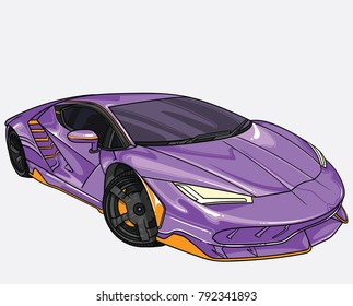 Vector Illustration Purple Lamborghini Car Separate Stock Vector