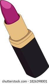 Vector illustration of a purple lipstick in a black case