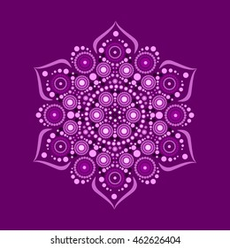 Vector illustration of purple mandala, pounced ornament, dot painting