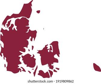 vector illustration of Purple map of Denmark