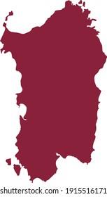 vector illustration of Purple map of Sardinia