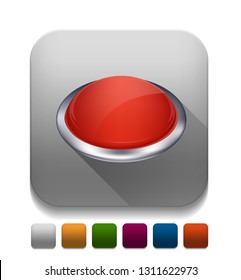 """Vector illustration of push button - 3d button """"round button"""" computer icon"""