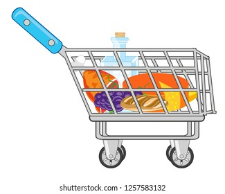 Vector illustration of the pushcart from shop pervaded product feeding