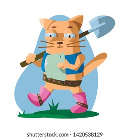 vector illustration. Puss in boots with a shovel on his shoulder and a map goes in search of treasure. Isolated on white.
