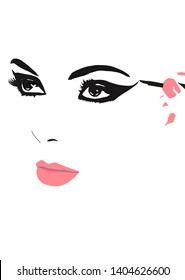 vector illustration. put on eyeliner. putting on make up. make-up artist putting on eye makeup. abstract woman face, logo for make up artist. Putting on make up. Put on make -up.