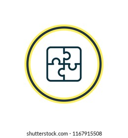 Vector illustration of puzzle icon line. Beautiful hobby element also can be used as jigsaw icon element.